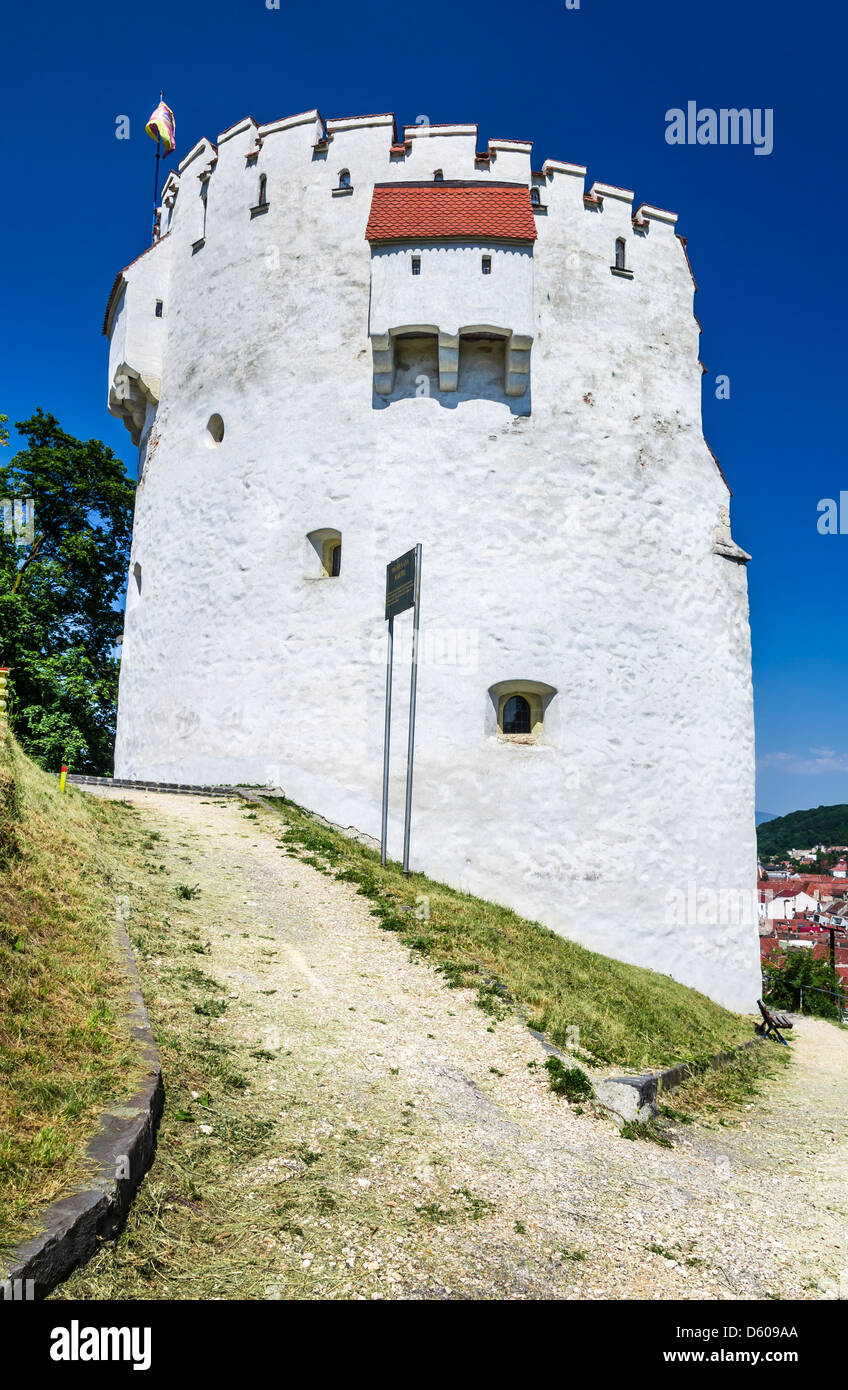 White Tower bastion was erected in medieval times to protect the Fortress of Brasov. Transylvania, Romania - Stock Image