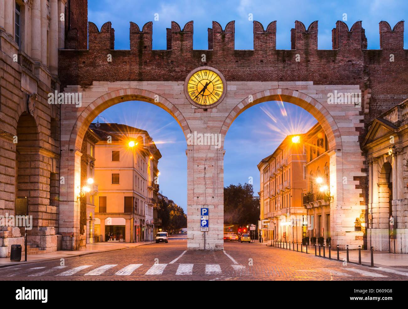 Portoni della Bra, one of medieval entrance of historical city Verona, northern Italy - Stock Image