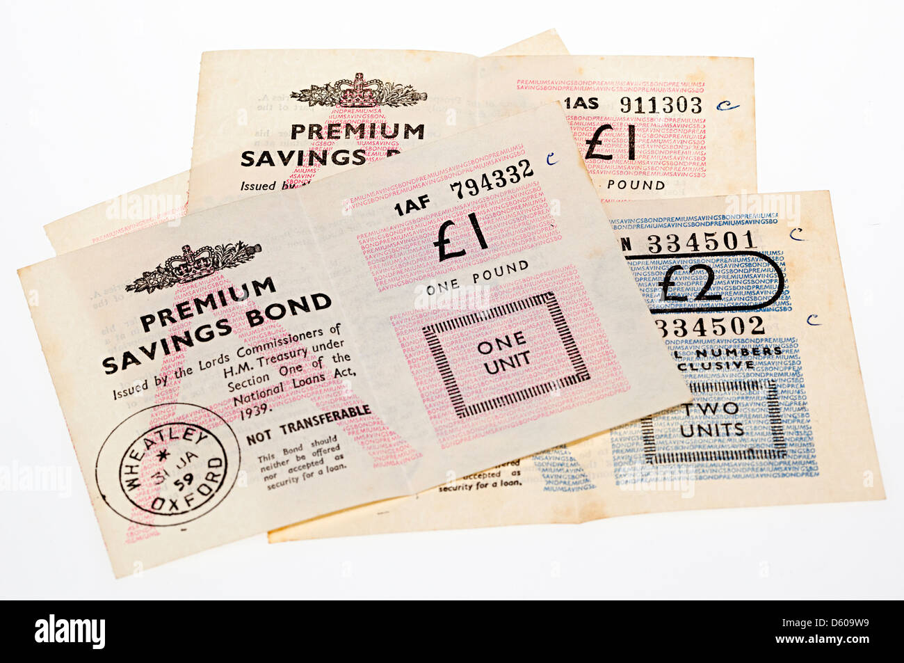 Old style Premium Bond certificates issued in the 1950s, UK Stock Photo
