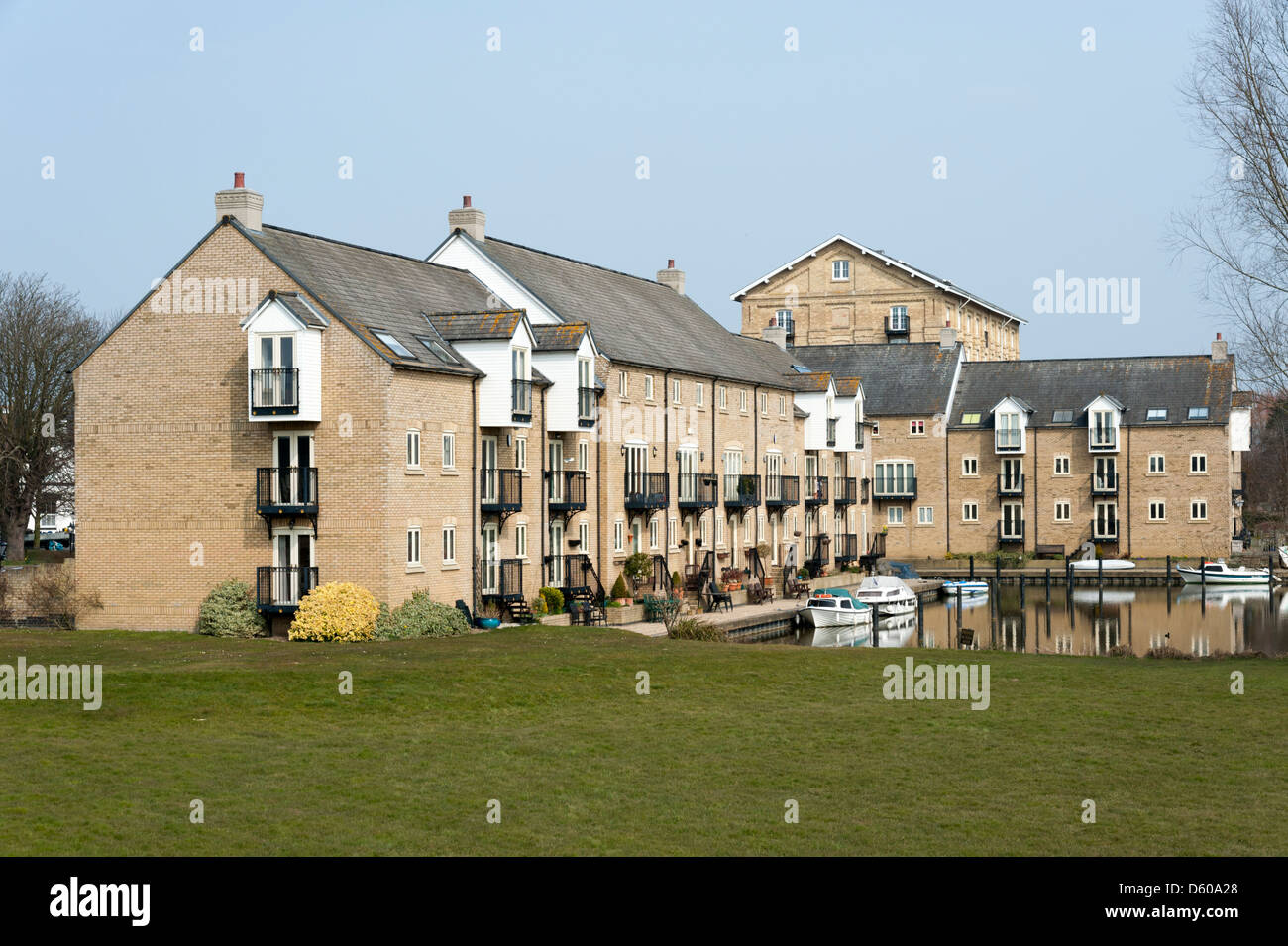 Riverside properties and buildings at St Ives Cambridgeshire UK - Stock Image