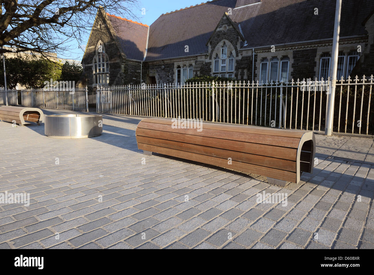 New steel and wood street furniture, Aberystwyth, Wales, UK Stock Photo