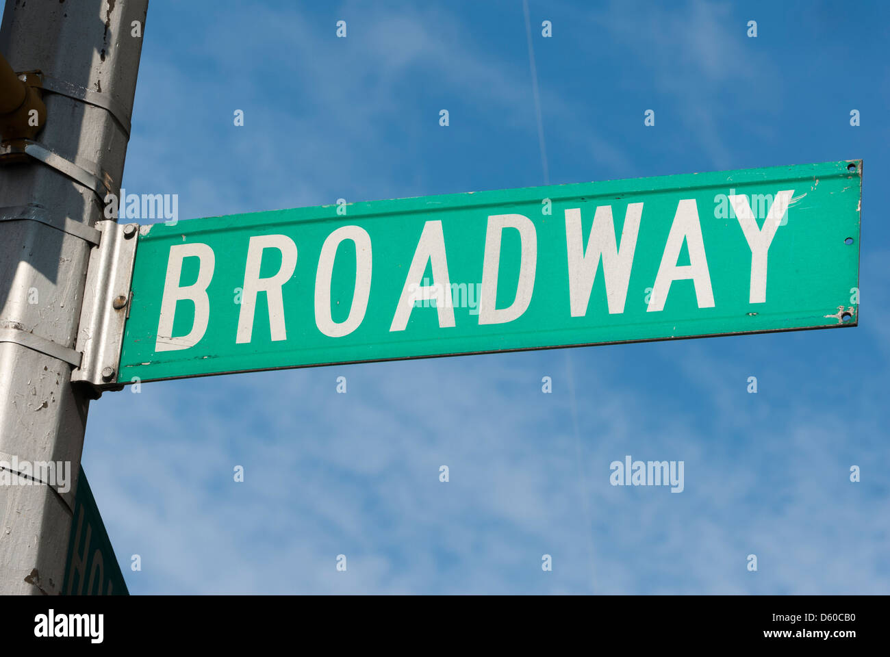 Broadway, street sign in New York City, New York, USA, North America - Image taken from public ground - Stock Image