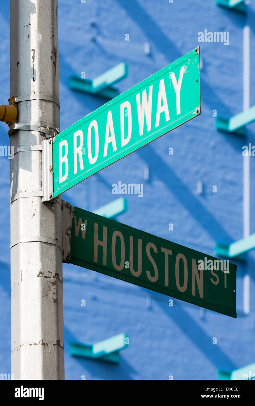 Broadway, Houston street, street signs in New York City, New York, USA, North America - Image taken from public - Stock Image