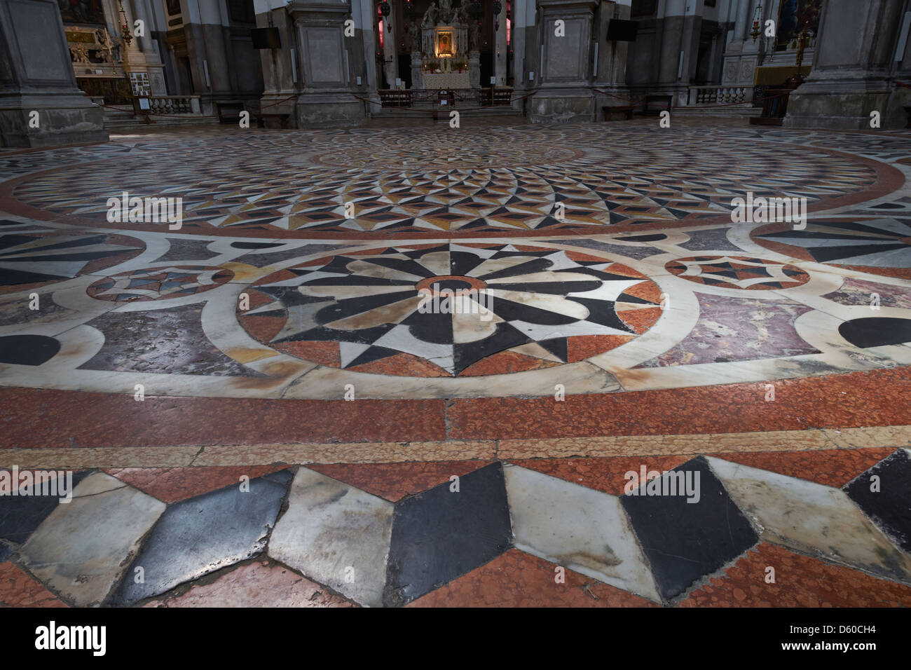 Venice Italy. The church of Santa Maria della Salute built 1631-87 view of geometric floor of coloured marbles. - Stock Image