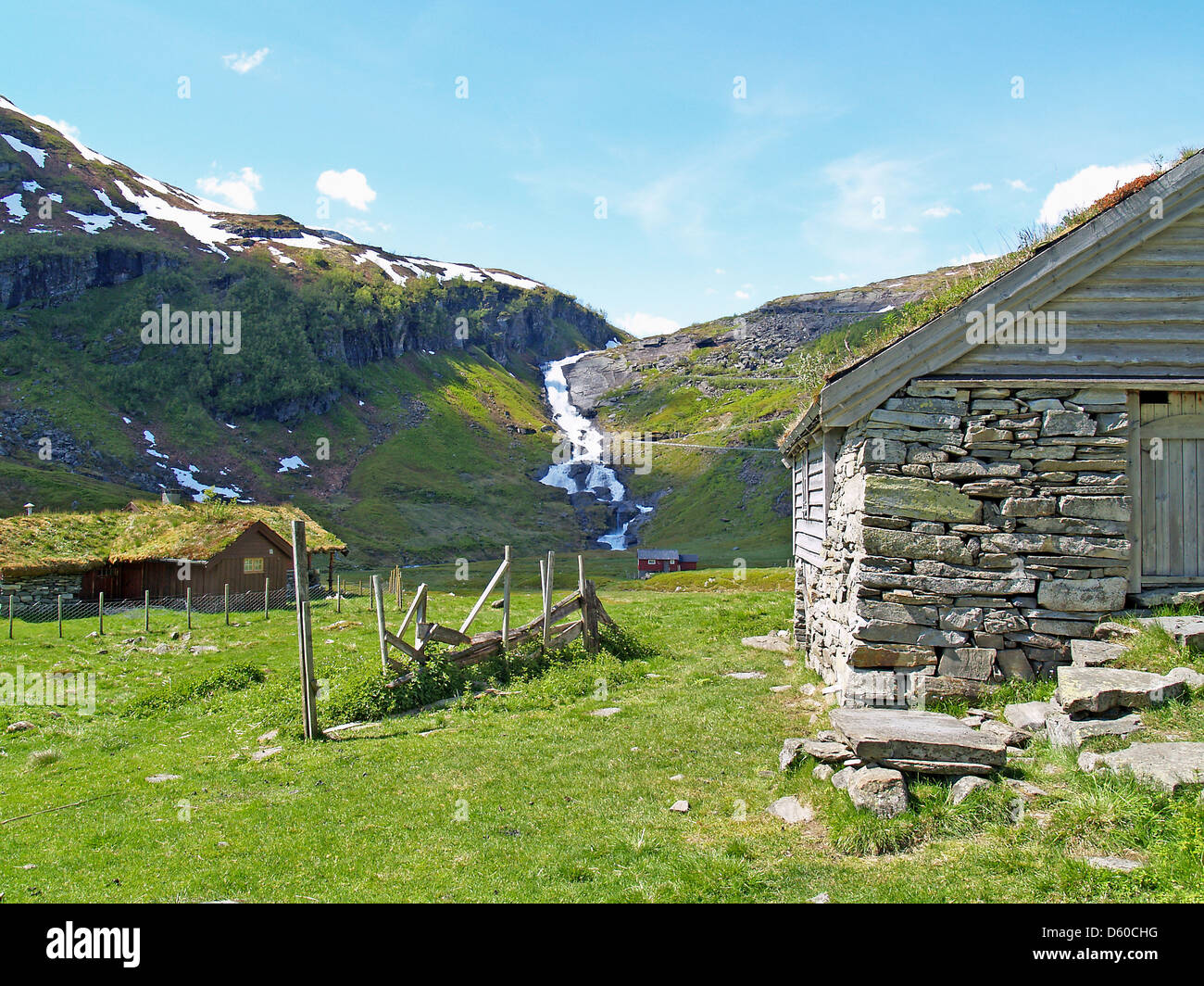 A pastoral scene on Highway #13 to Vik,Norway - Stock Image