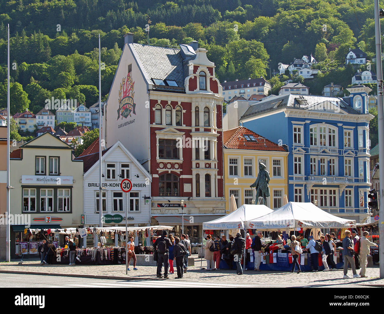 The center of Bergen, Norway - Stock Image