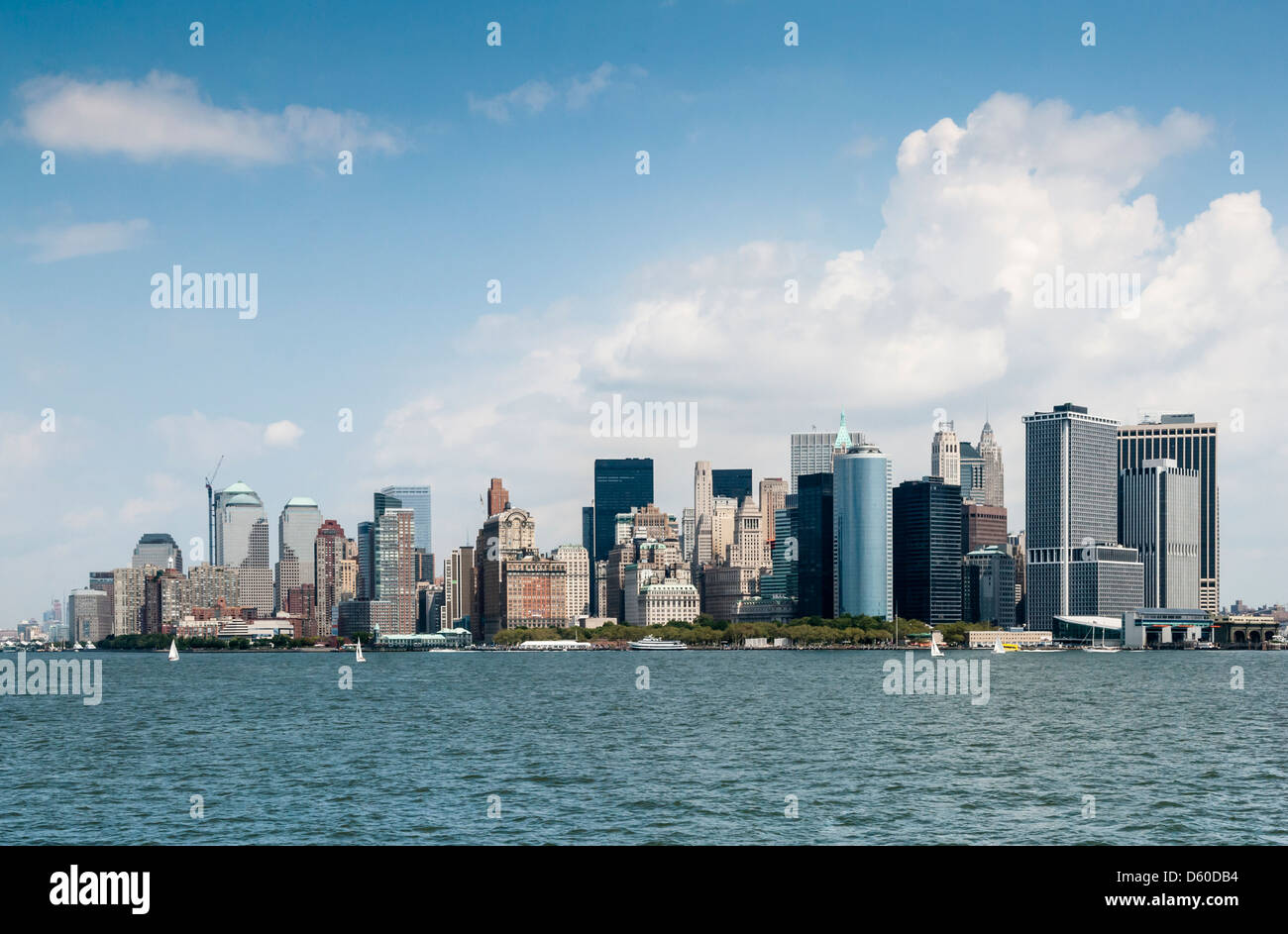 Downtown Manhattan Skyline without the former World Trade Center, New York City - Stock Image