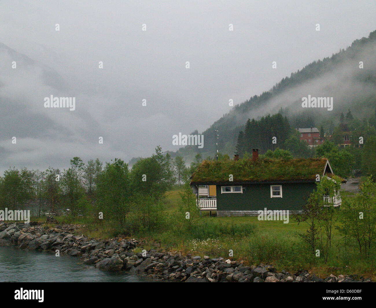 A sod roof cabin,Fjaerland,Norway - Stock Image