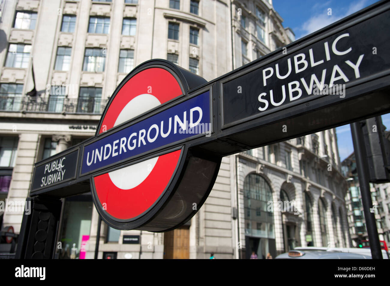 London Underground sign, London, UK - Stock Image