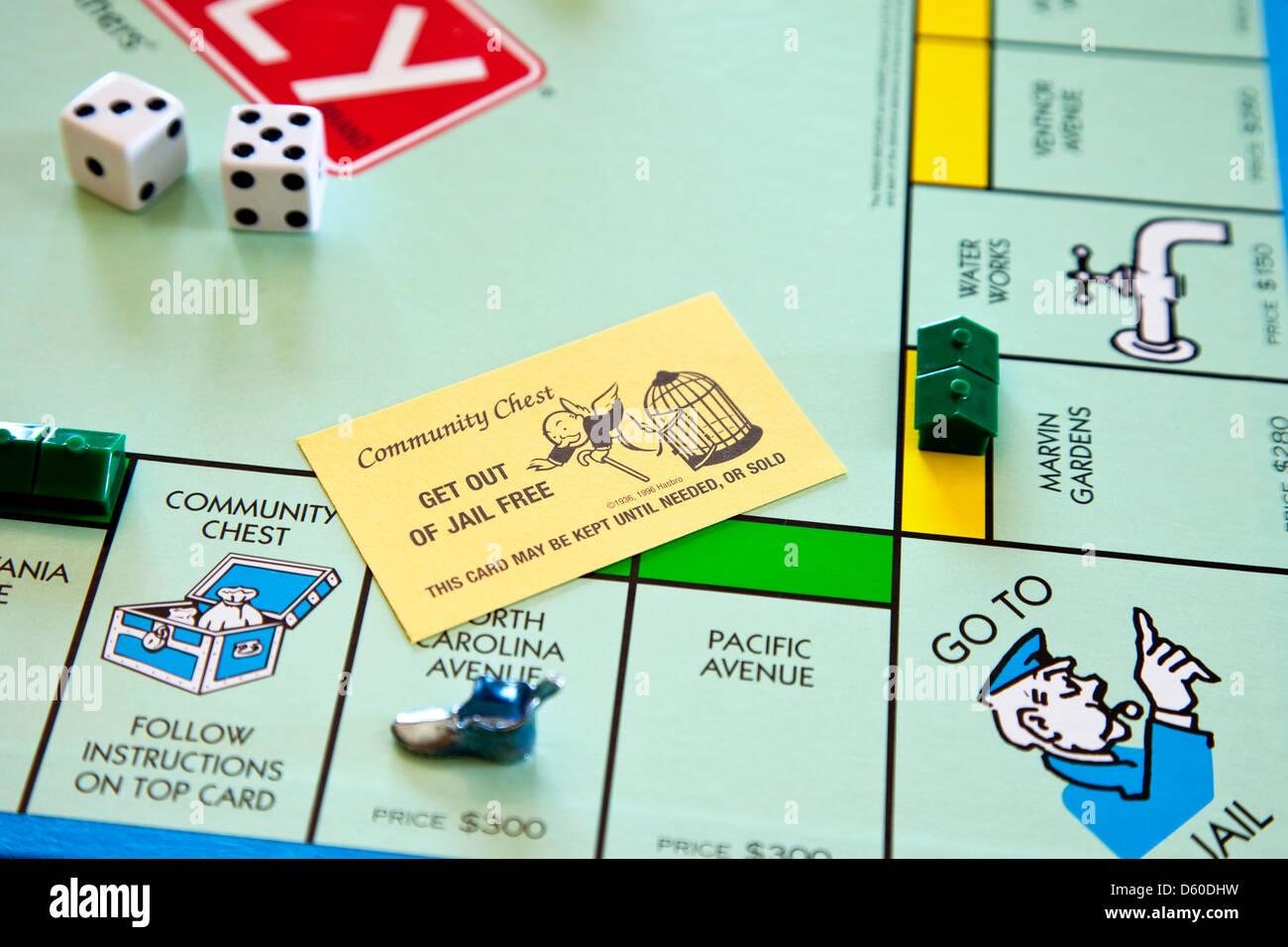 Monopoly Board Game Get Out Of Jail Free Card Stock Photo
