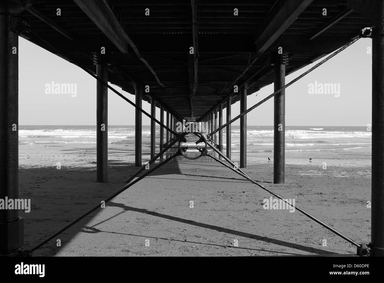 Paignton pier - from below - Stock Image