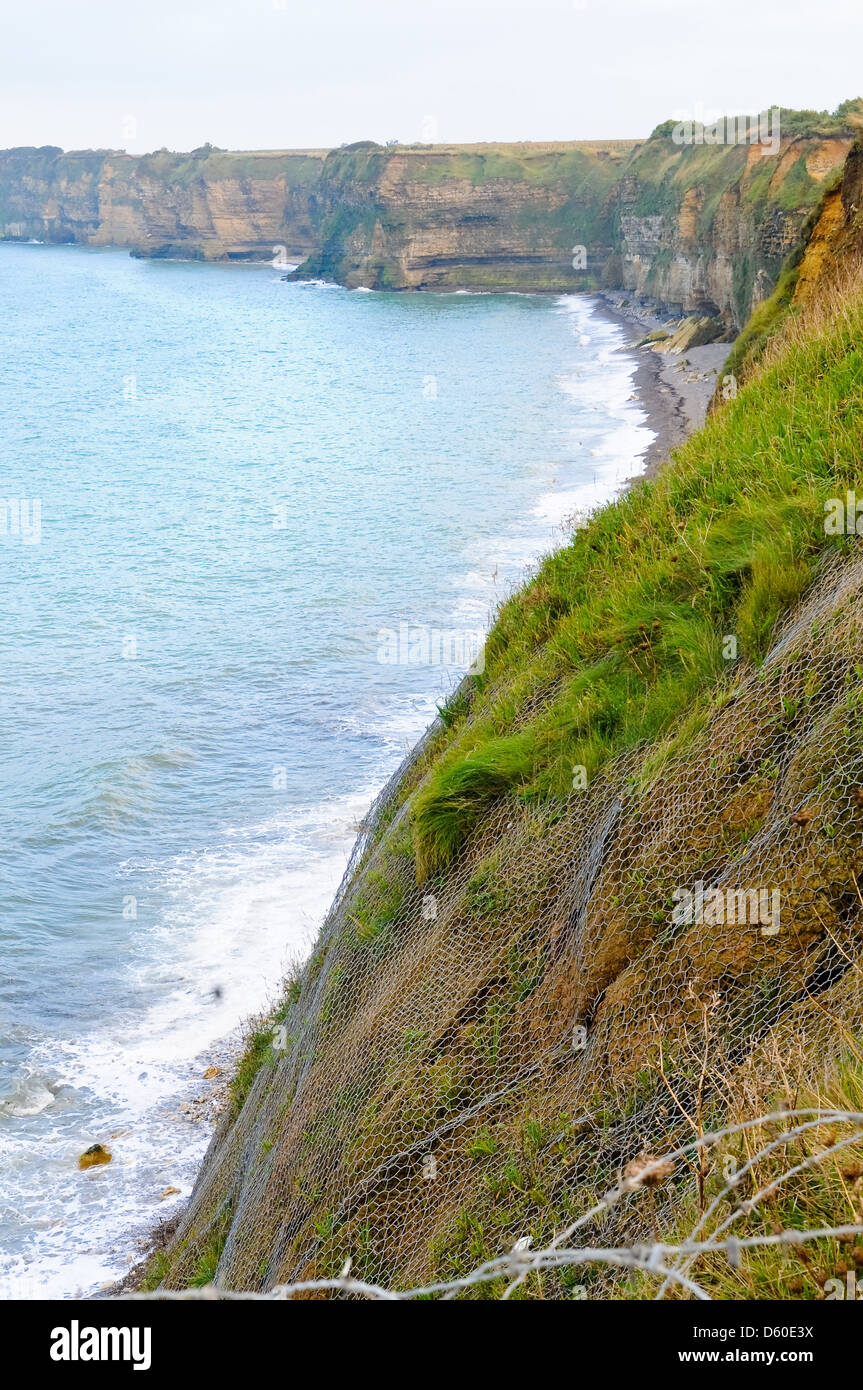 Pointe-du-Hoc, Normandy, France where the allied troops landed on D Day, june 6th of 1944. D Day them - Stock Image