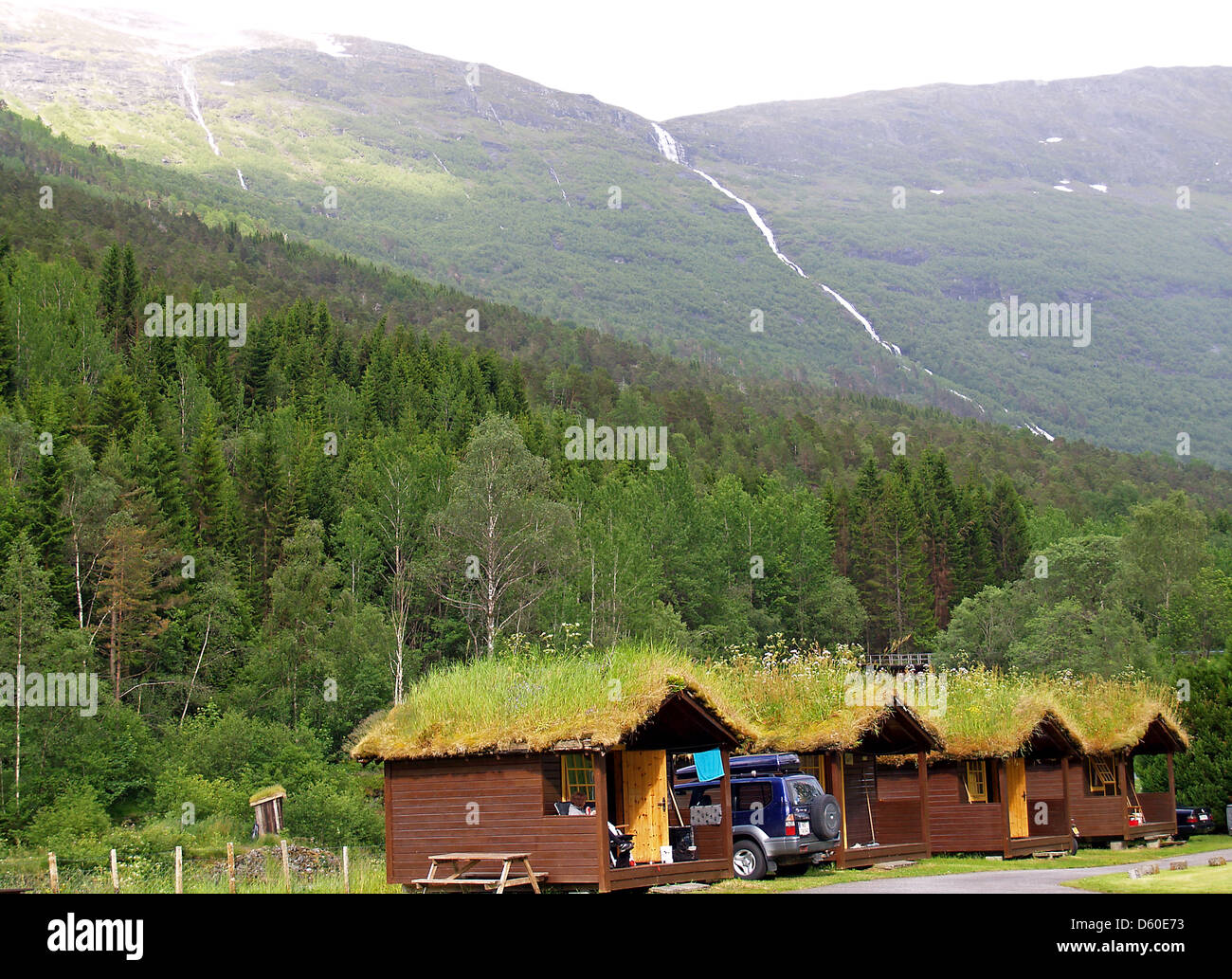 Sod roof cabins near Hellesylt,Norway - Stock Image