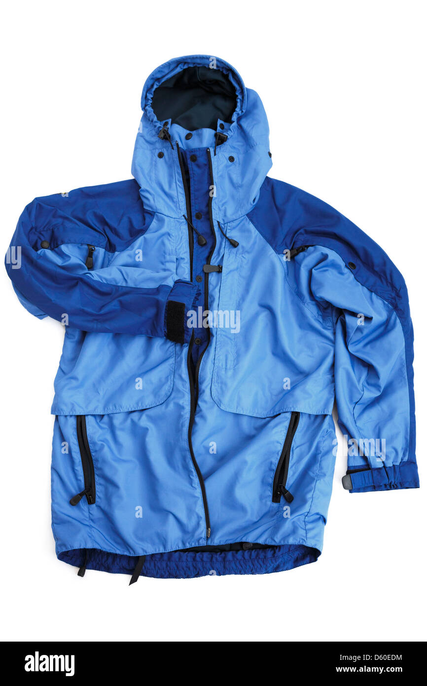 Blue Nikwax Analogy Paramo directional waterproof jacket isolated on a plain white background. UK - Stock Image