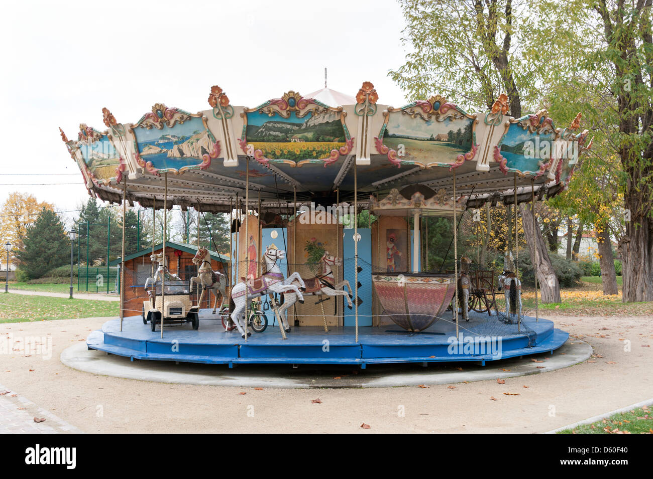 Disused fairground carousel in the Parisian suburb of Drancy - Stock Image