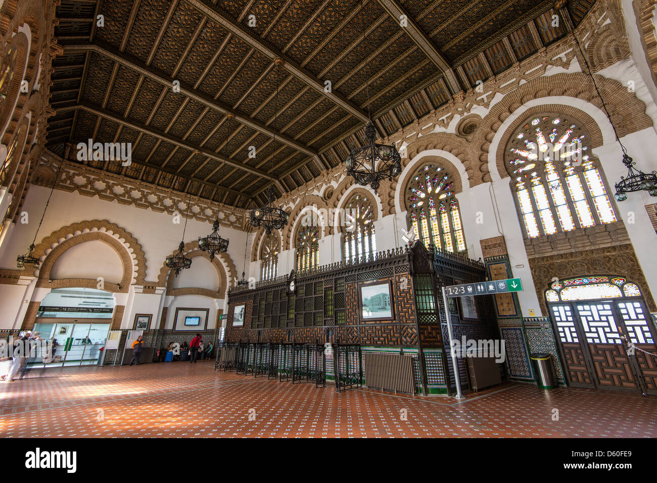 Interior of the railway station in Neo-Mudéjar style, Toledo, Castile La Mancha, Spain - Stock Image