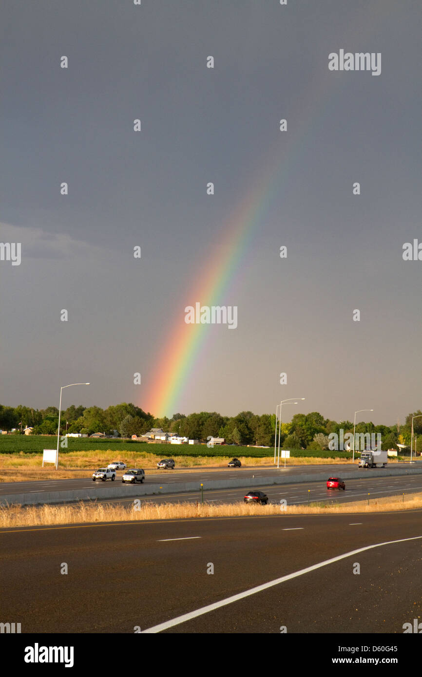 Rainbow over Ada County, Idaho, USA. MR - Stock Image