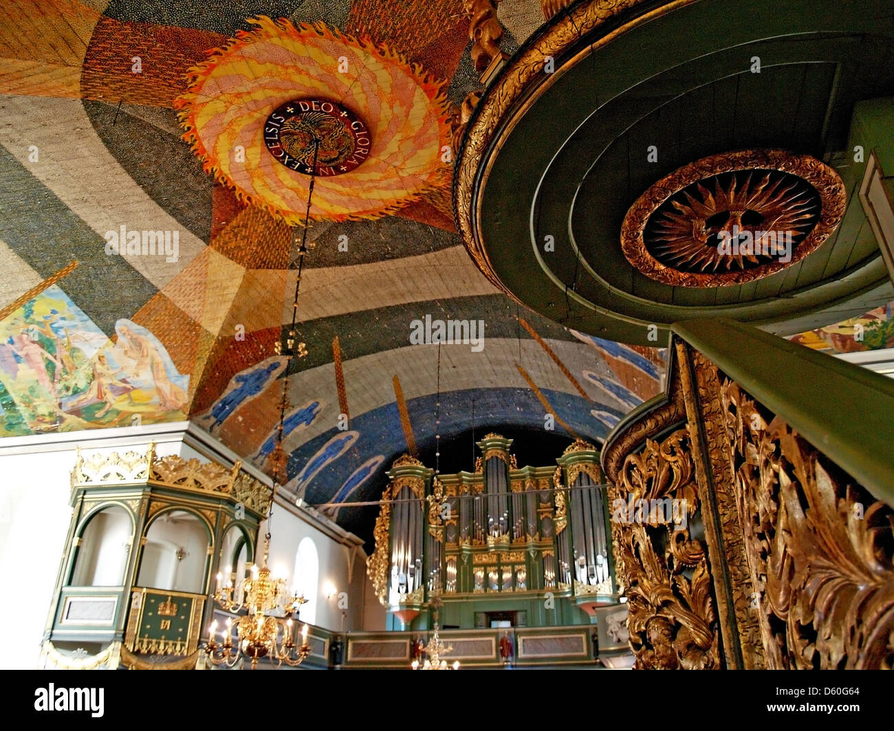 The Royal Box and pipe organ of Oslo Cathedral,Norway - Stock Image