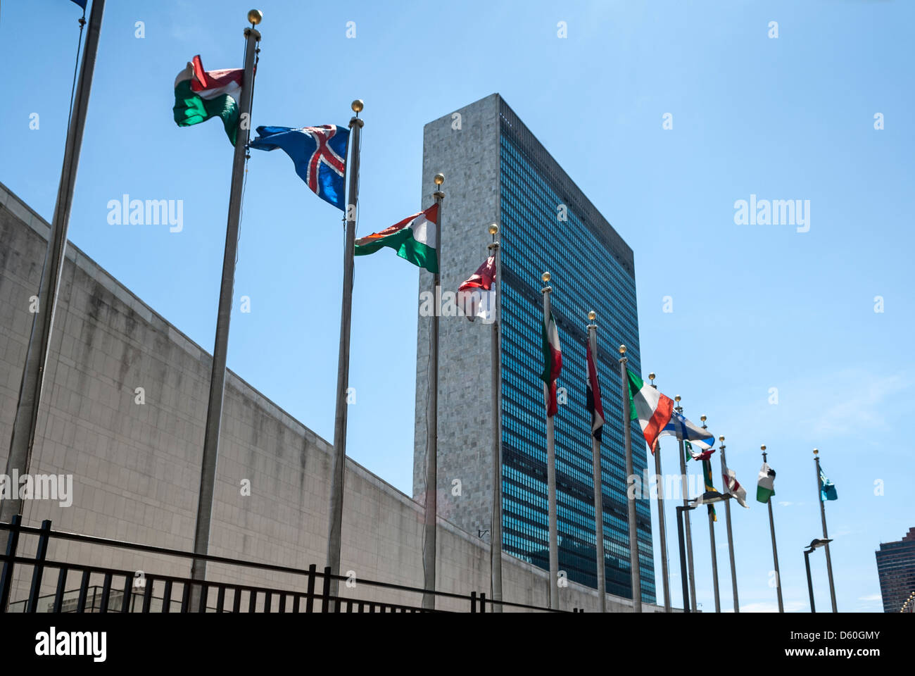 United Nations Building, UN Headquarters, Manhattan, New York City, NYC, New York, USA - Image taken from public - Stock Image