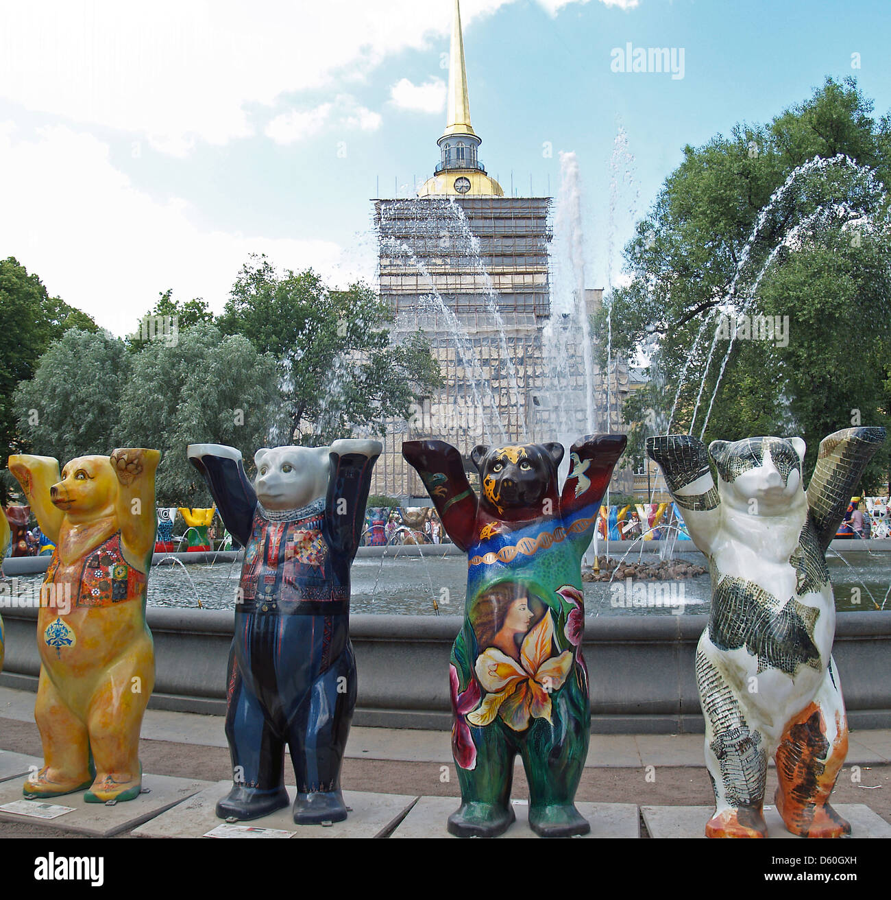 The United Buddy Bears in St.Petersburg,Russia - Stock Image