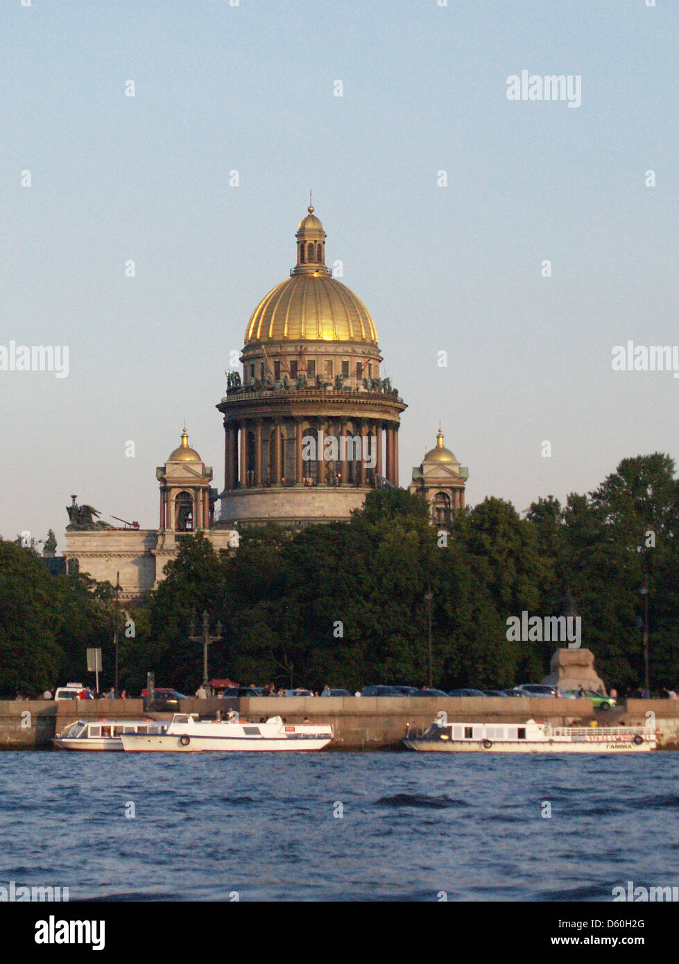 St.Isaac's Cathedral from Neva River,St.Petersburg - Stock Image