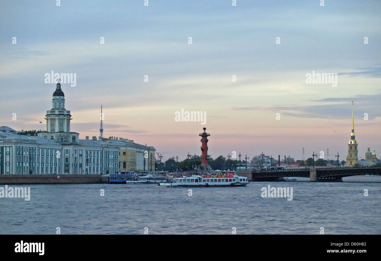 The Kunstkamera Museum,Rostral Column and Peter and Paul Fortress,St.Petersburg - Stock Image