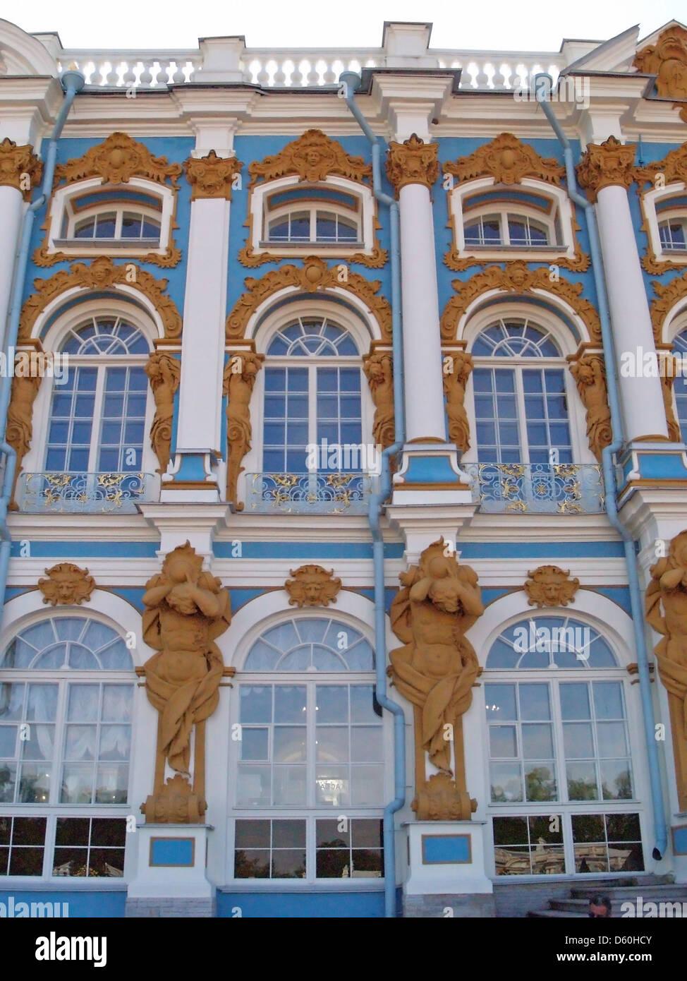 The facade of Catherine Palace,Tsarskoe Selo,Pushkin - Stock Image