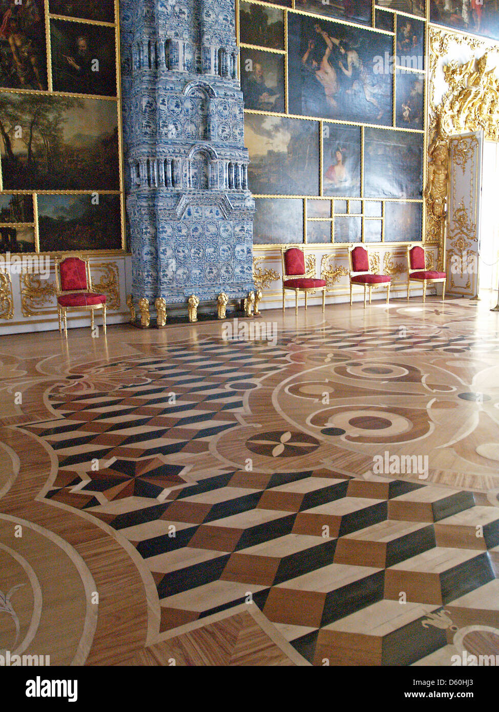 The intricate designs of the parquet floors of Catherine Palace,Tsarskoe Selo - Stock Image