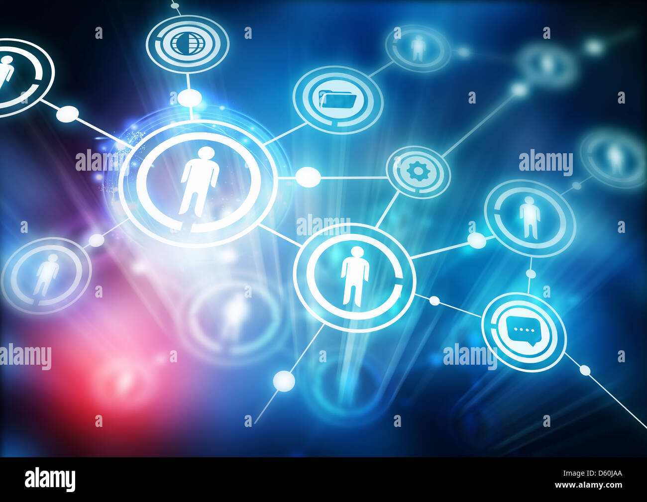 Network Community - Illustration with connected people. - Stock Image