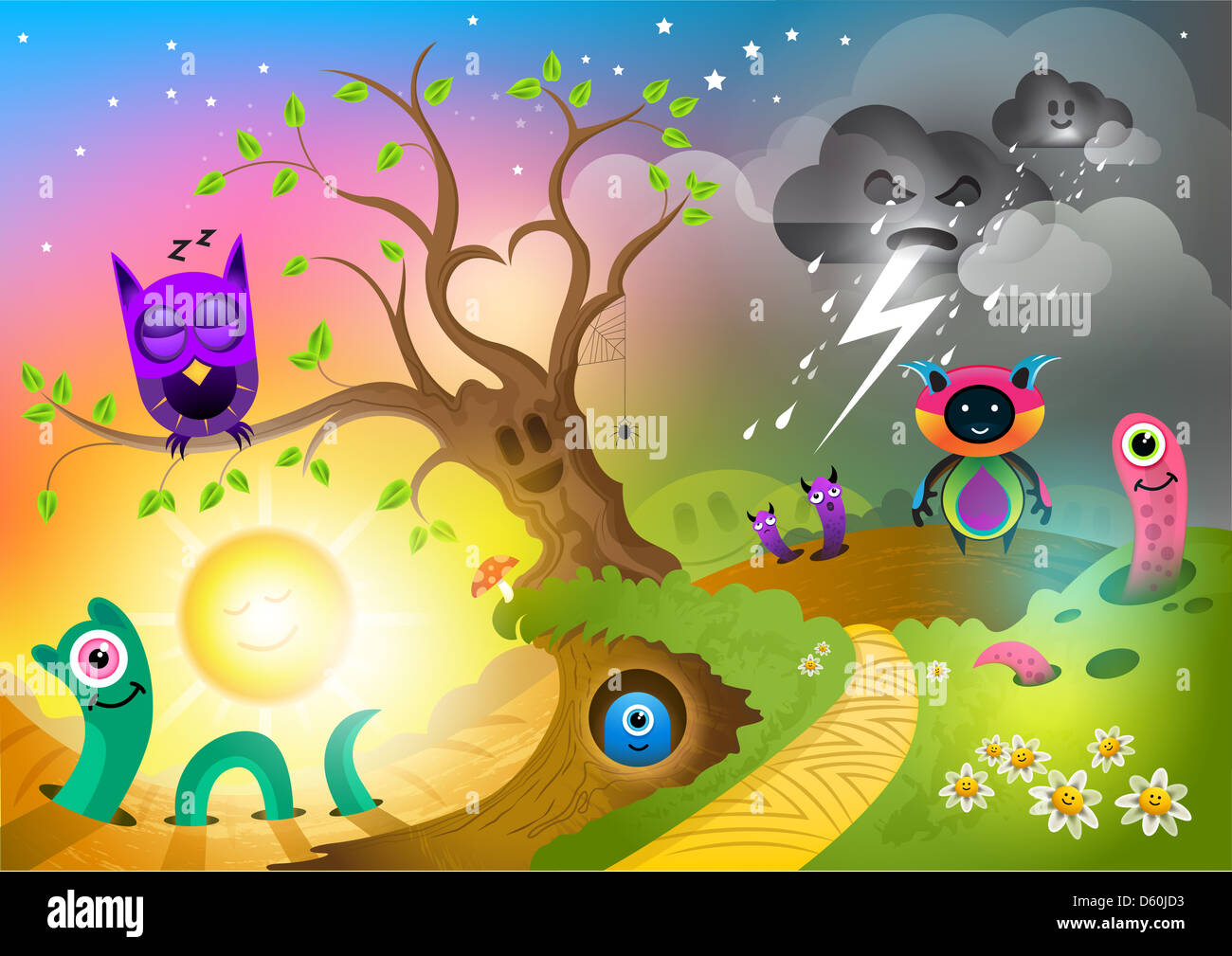 Monster Land, fantastic creatures and monsters! - Stock Image