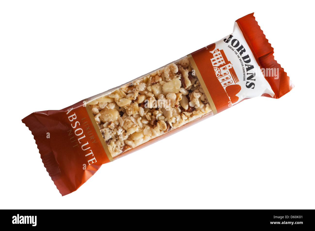 A Jordans absolute nut nutty cereal bar on a white background - Stock Image