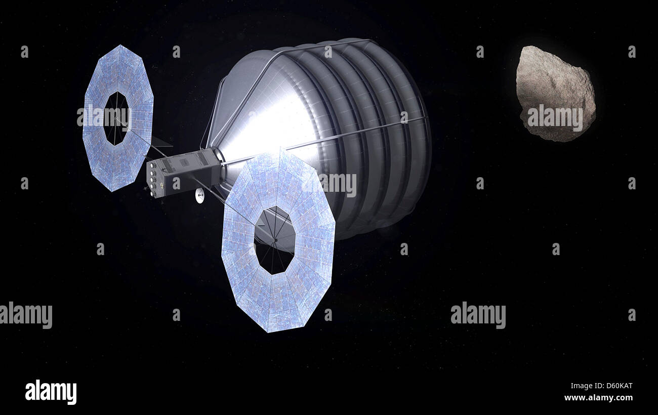 Artists concept of a Solar Electric Propulsion based spacecraft during NASA's mission to find, rendezvous with - Stock Image