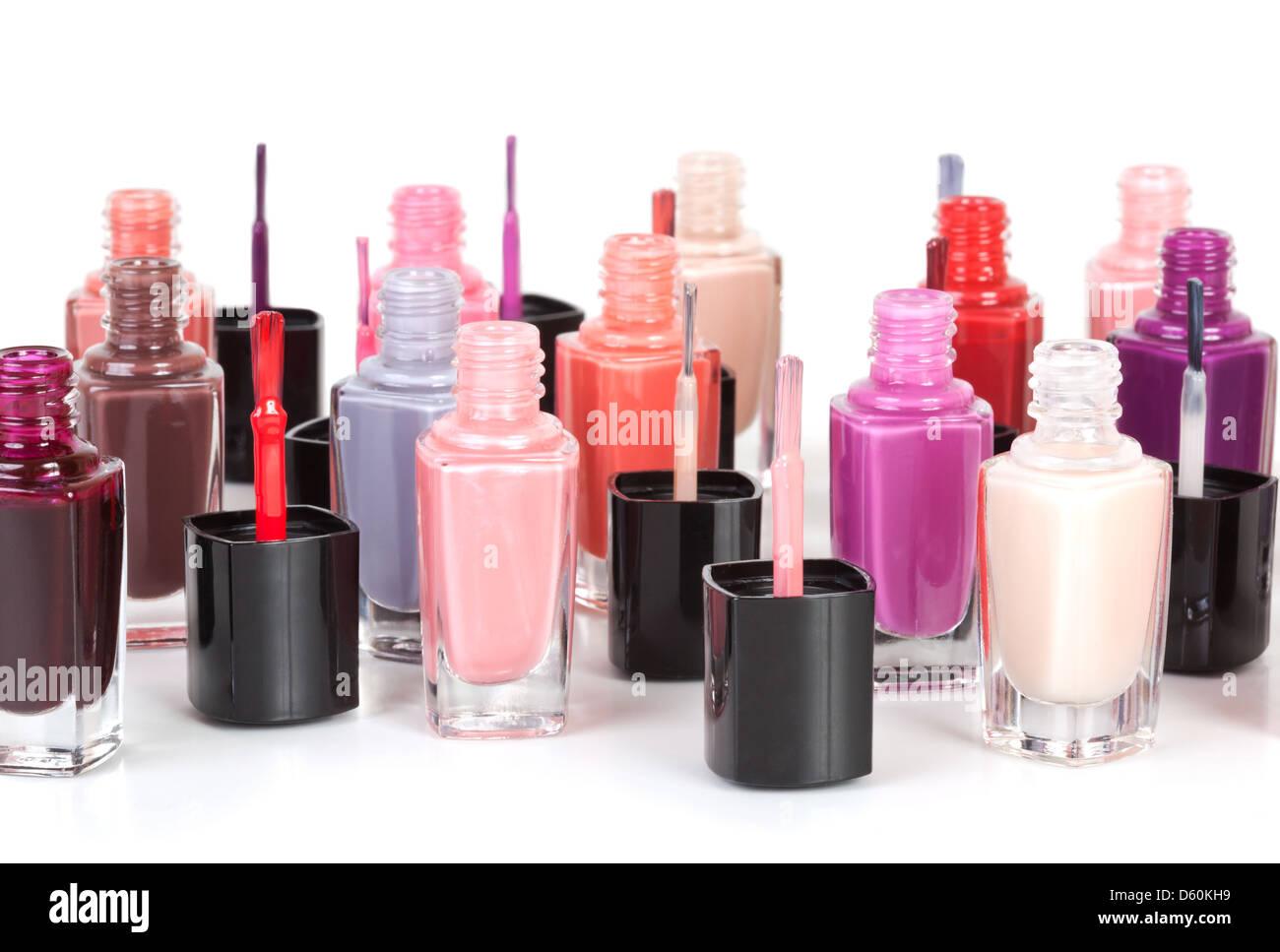 Multi-colored nail polish - Stock Image