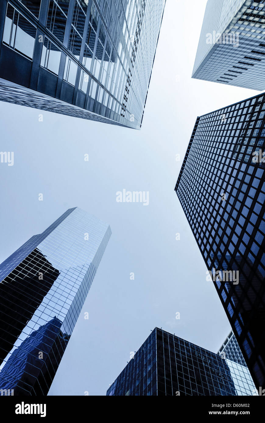 Manhattan Financial District, New York City, low angle shot of high rise buildings with The Broad Financial Center, - Stock Image