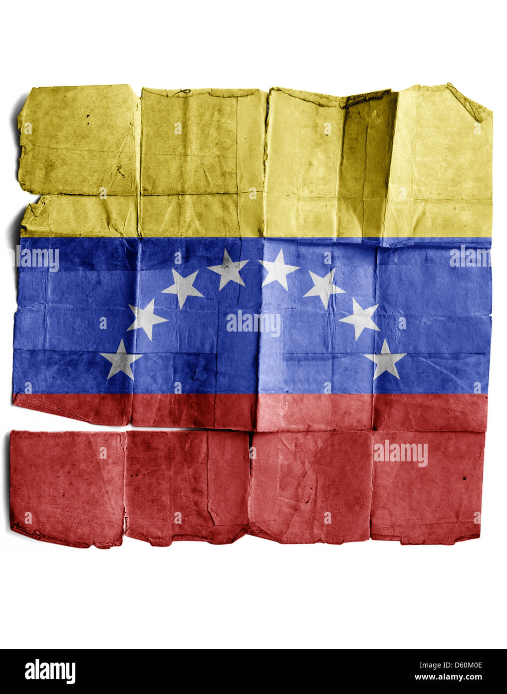 Venezuela Flag on old paper. - Stock Image