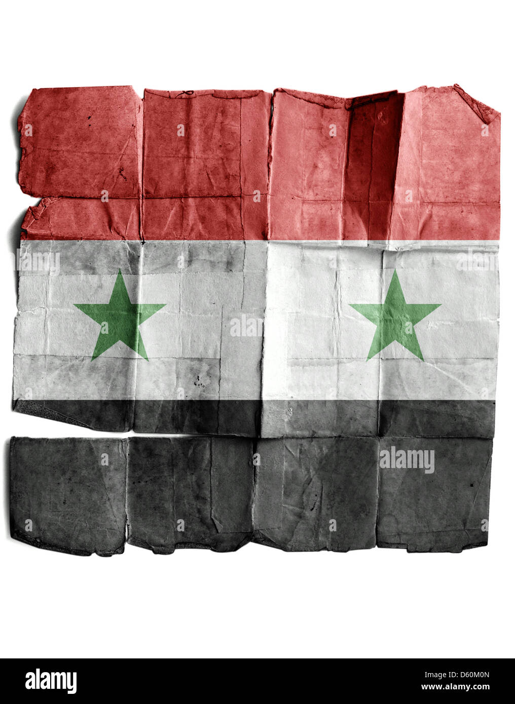 Flag of Syria on the old paper. Stock Photo