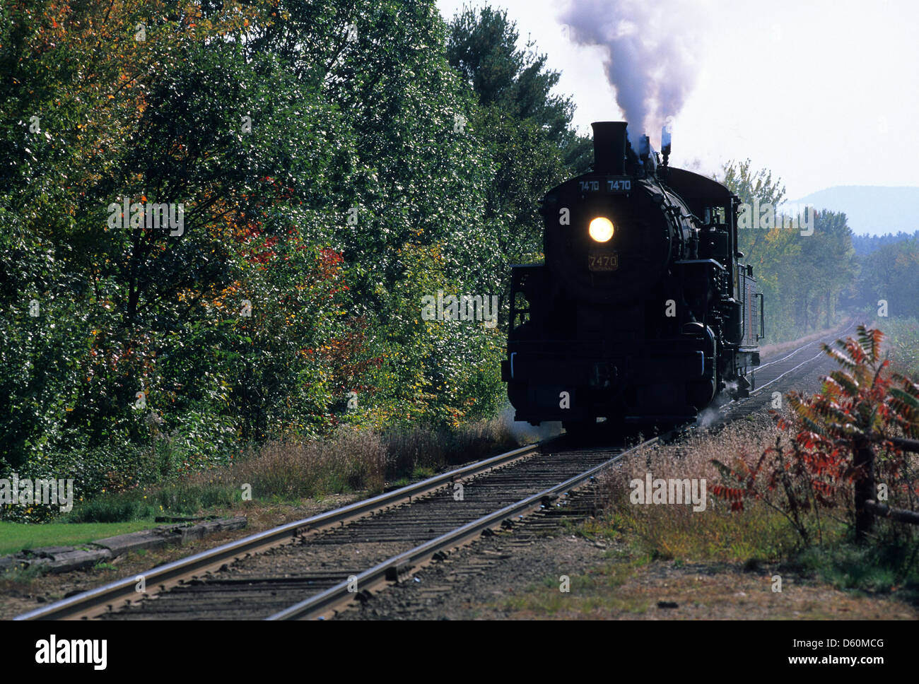 Elk281-1422 New Hampshire, North Conway, Conway Scenic Railroad, steam engine - Stock Image