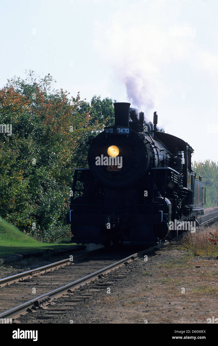 Elk281-1424v New Hampshire, North Conway, Conway Scenic Railroad, steam engine - Stock Image