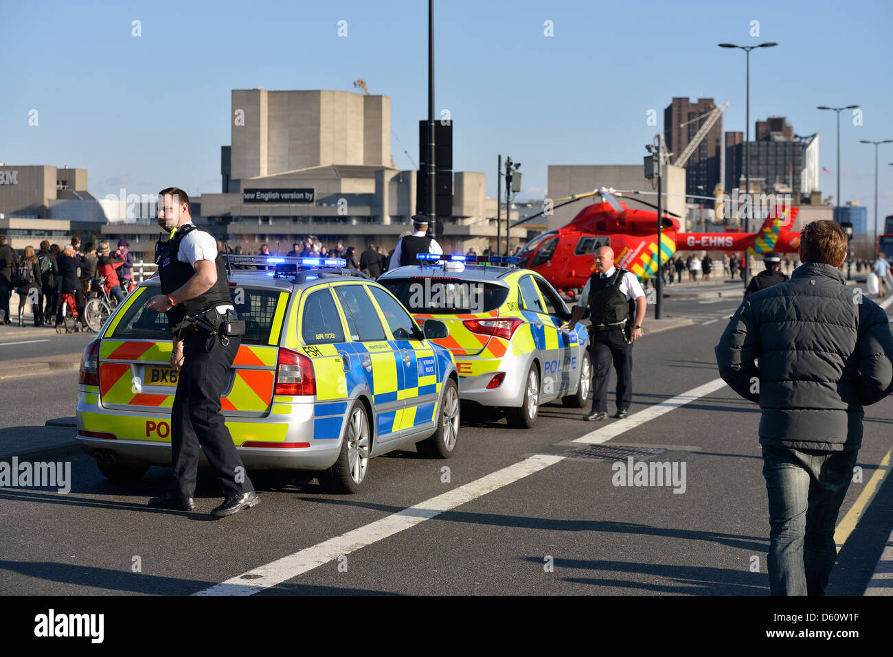 London, England - April 02, 2013: Police and London Air Ambulance at an emergency scene on Waterloo Bridge. - Stock Image