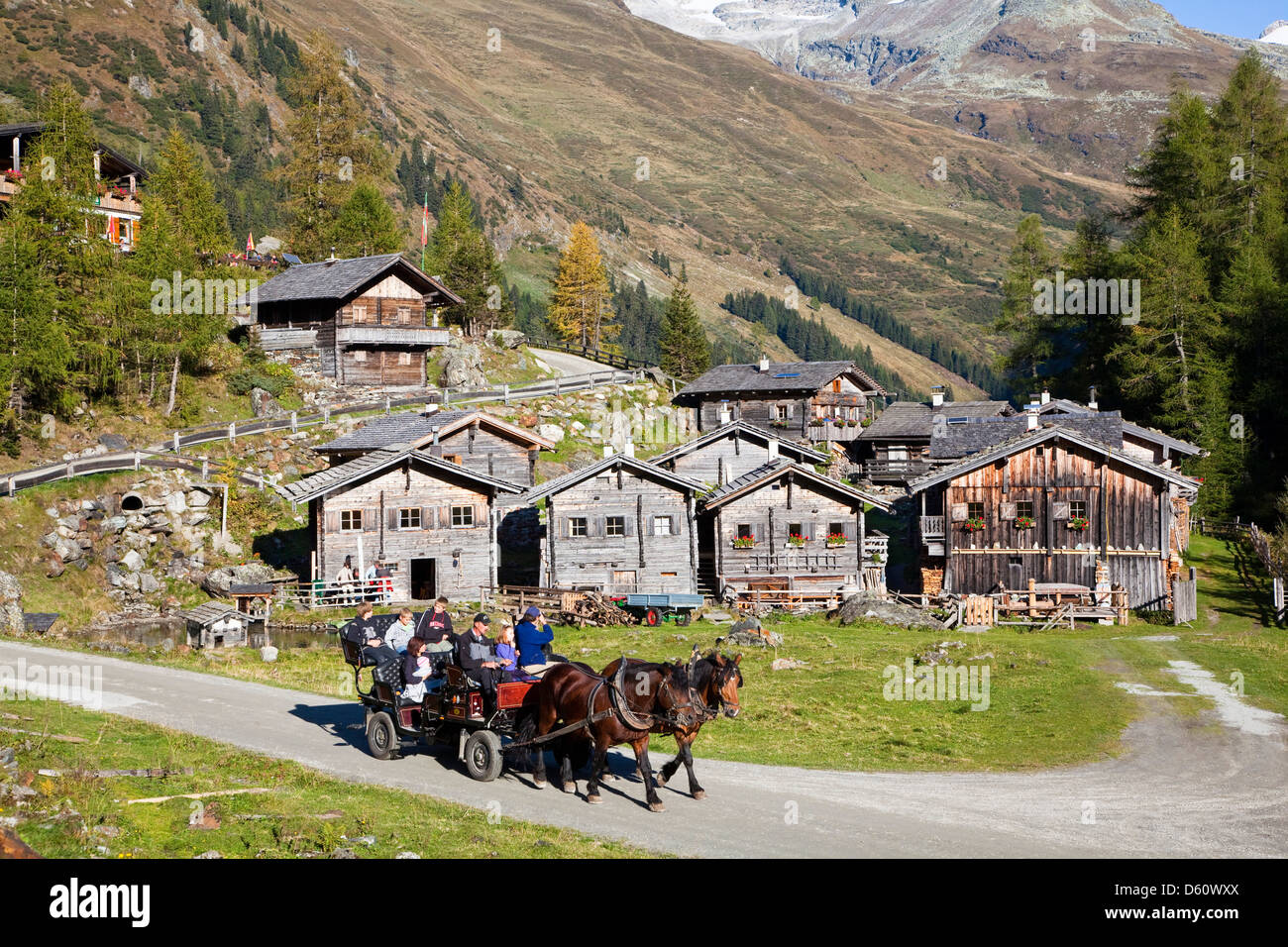 The alp Aussergschloess in East Tyrol, national park Hohe Tauern, with tourists in a horse drawn carriage. East - Stock Image