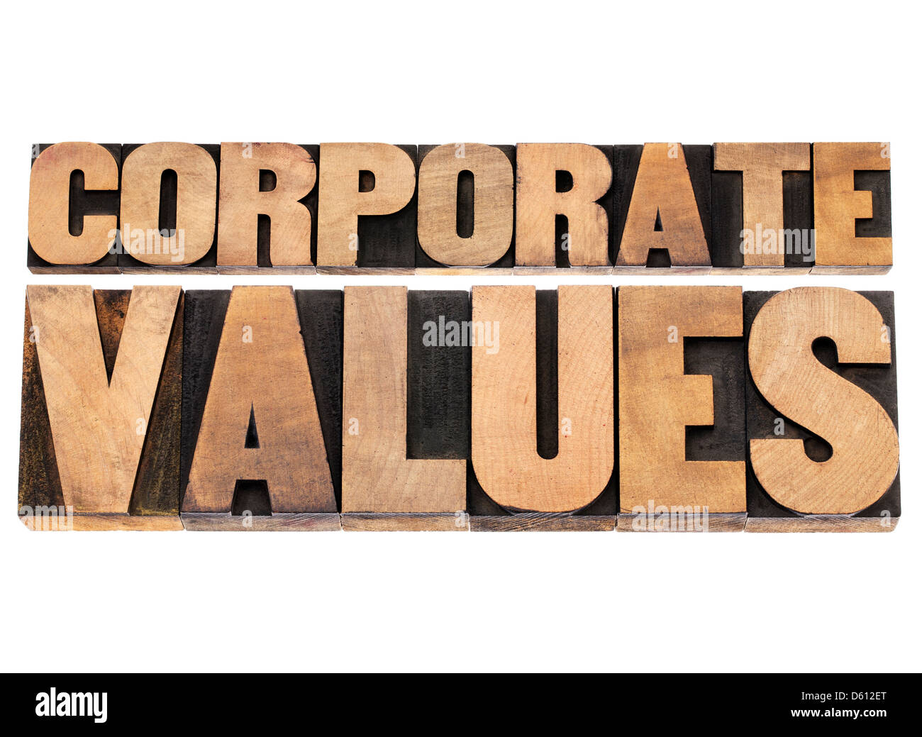 corporate values - business ethics and integrity concept - isolated text in vintage letterpress wood type printing - Stock Image