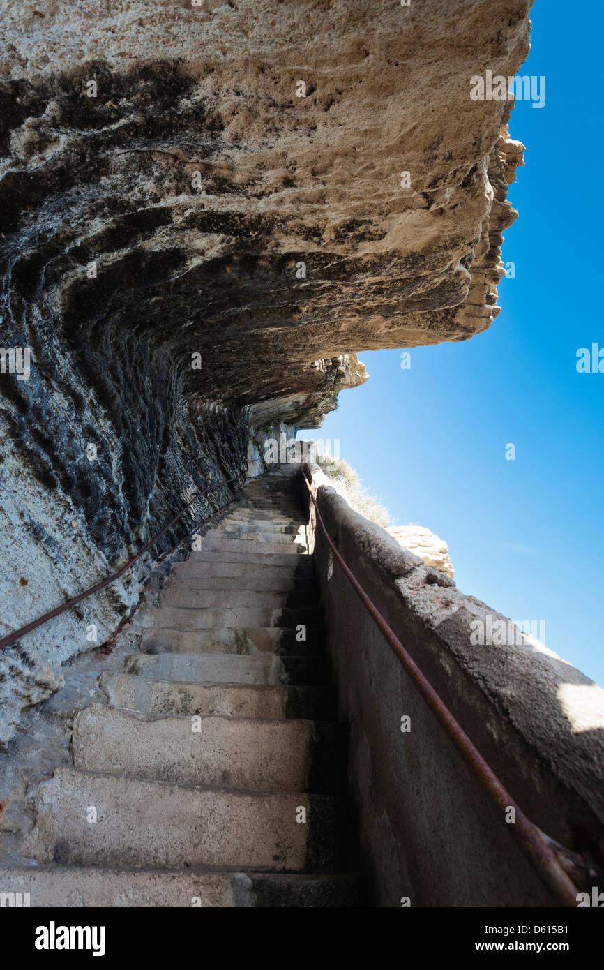 France, Corsica, Bonifacio, Escalier du Roi de Aragon, King of Aragon Staircase Stock Photo