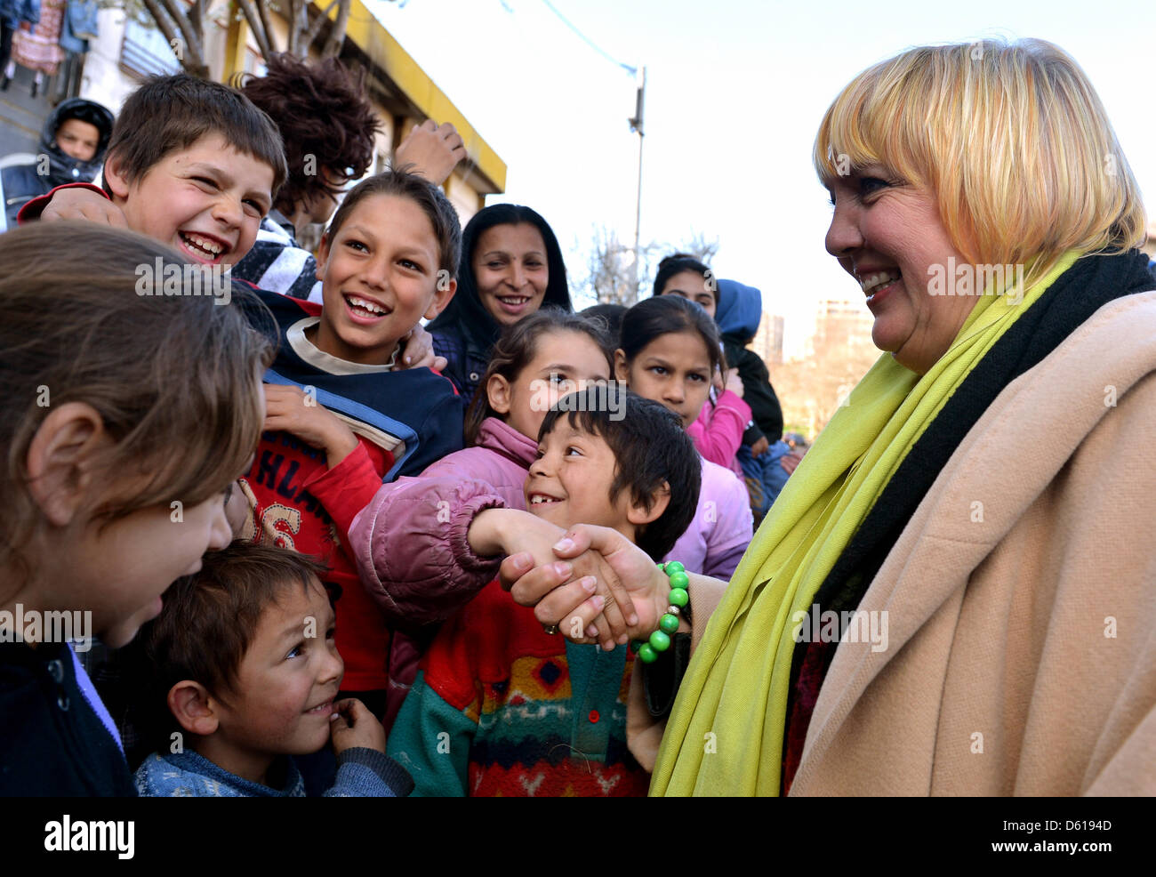 Chairman of the German party The Greens, Claudia Roth, speaks with