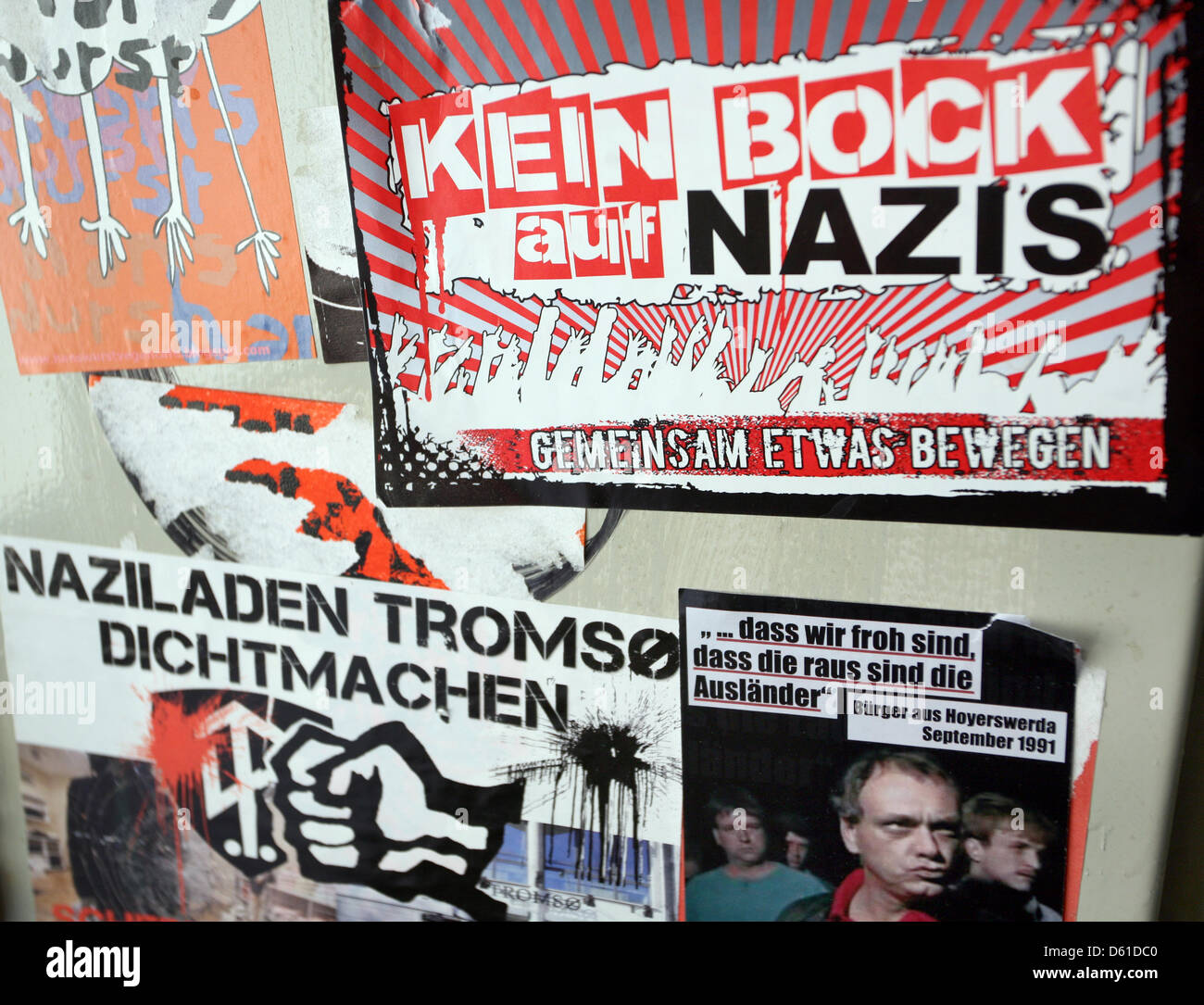 Antifacist stickers are stuck in the stairwell at the Antifacist Press Archive and Education Center Berlin e.V., Stock Photo