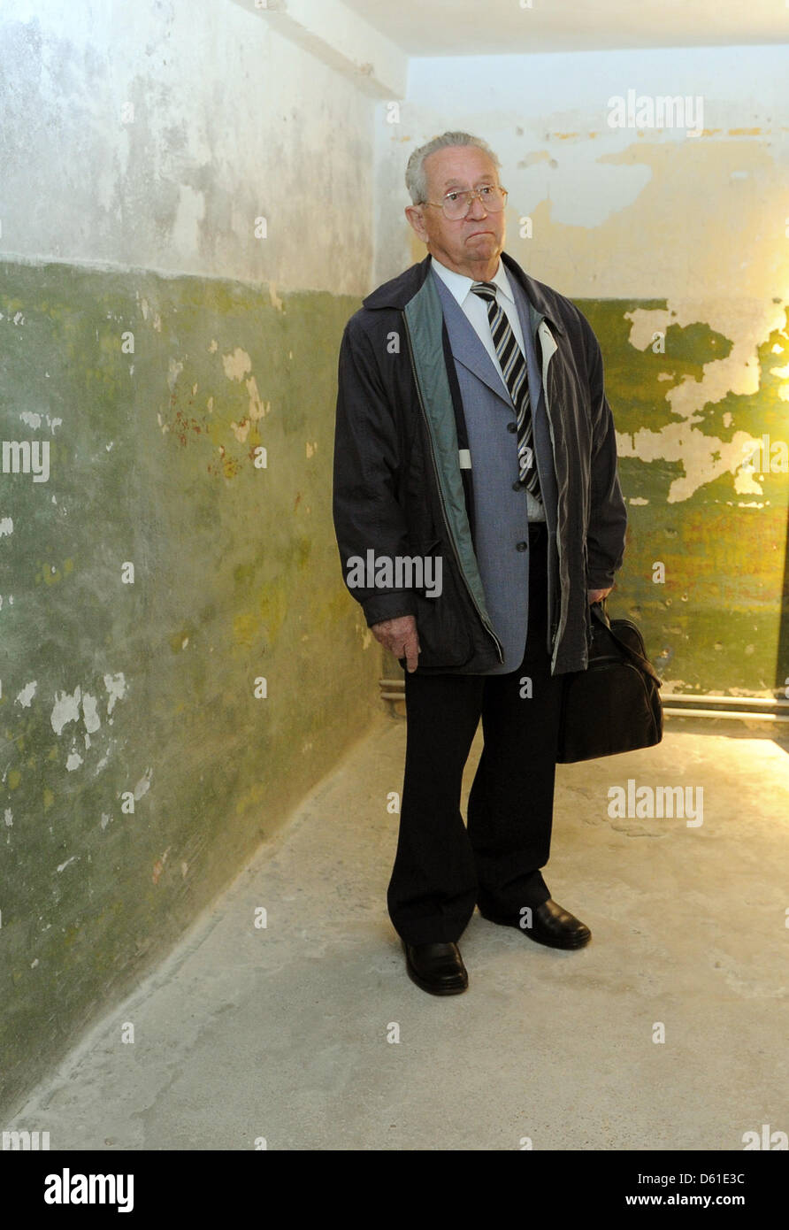 Witness Friedrich Klausch stands in a cell of the KGB Memorial in Potsdam, Germany, 18 April 2012. The new exhibition - Stock Image