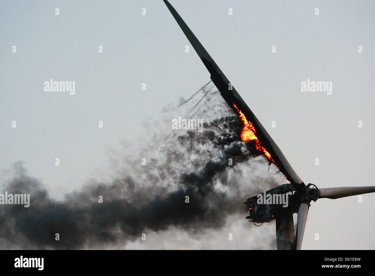 A wind power plant is burning at a wind park in Neukirchen, germany, 19 April 2012. According to the firebrigade, - Stock Image