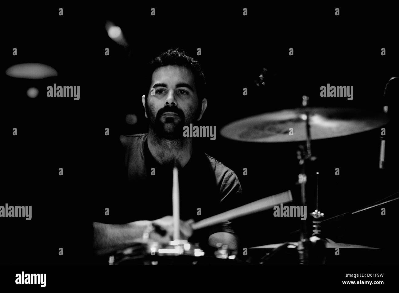 BARCELONA, SPAIN - APR 29: Pony Bravo band drummer performs at KGB on April 29, 2011 in Barcelona, Spain. - Stock Image