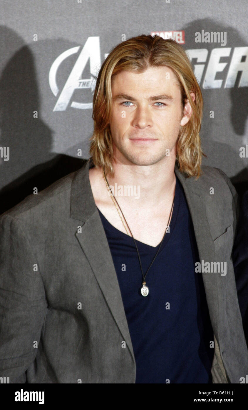 Australian actor Chris Hemsworth poses for the camera during the 'Marvel's the Avengers' photocall in Berlin, Germany, Stock Photo