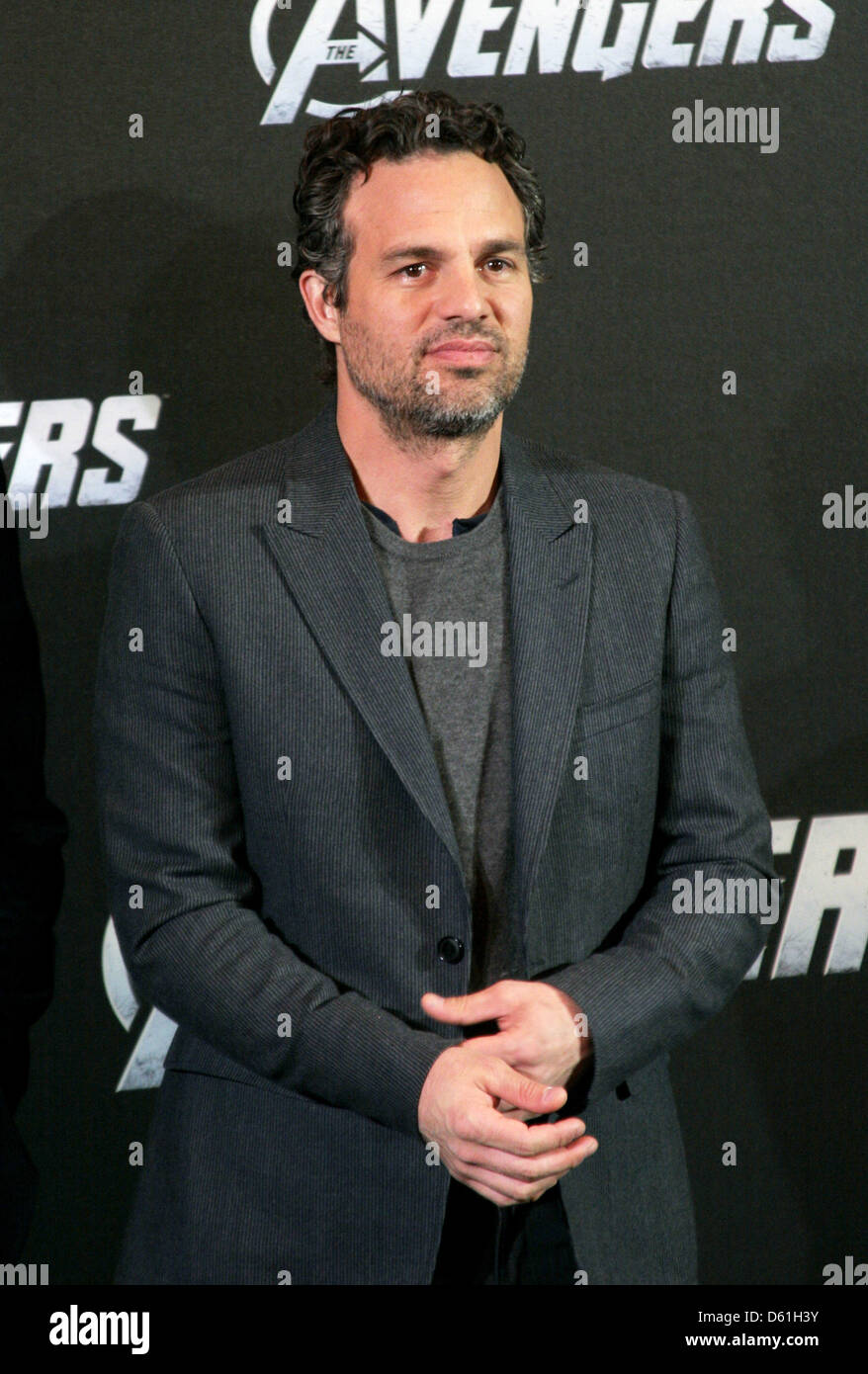 American actor Mark Ruffalo poses for the camera during the 'Marvel's the Avengers' photocall in Berlin, Germany, Stock Photo