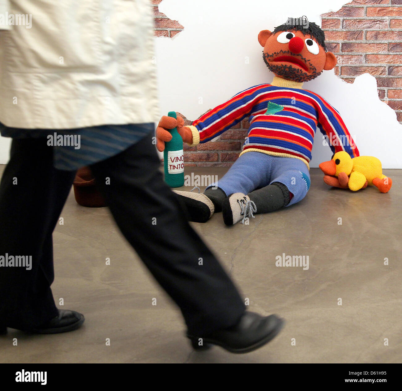Ernie from Sesame Street as a homeless person by artist
